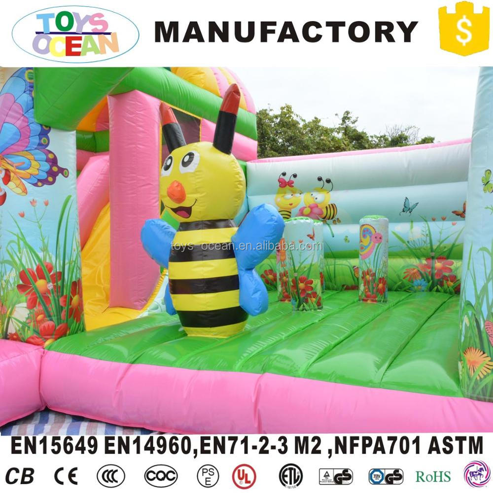 Flowers and Bee inflatable butterfly pink bounce with slide combo