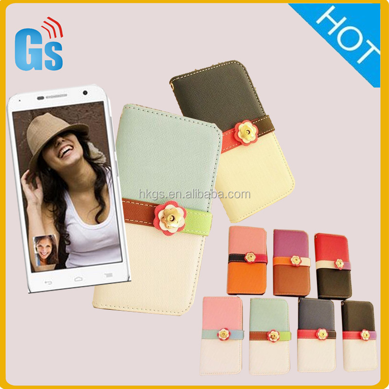 Fashion Cute Leather Flip Holder Support Case For Alcatel One Touch Idol 2 Mini 6016 6016X