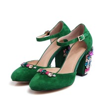 Spring Sheepskin Newest Wedding Sandals Shoes For Women Colorful Crystal Flowers Heels Shoes Luxury Shoes Beautiful