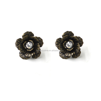 2016 Vintage Costume Jewelry Antique Bronze Flower Rhinestone Post Earring