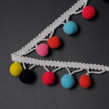 Hot selling colorful pompom lace trims for garment decoration