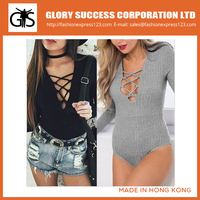 Basic Bodysuit with Ribbed Fabric for Women Long Sleeve Bodysuit