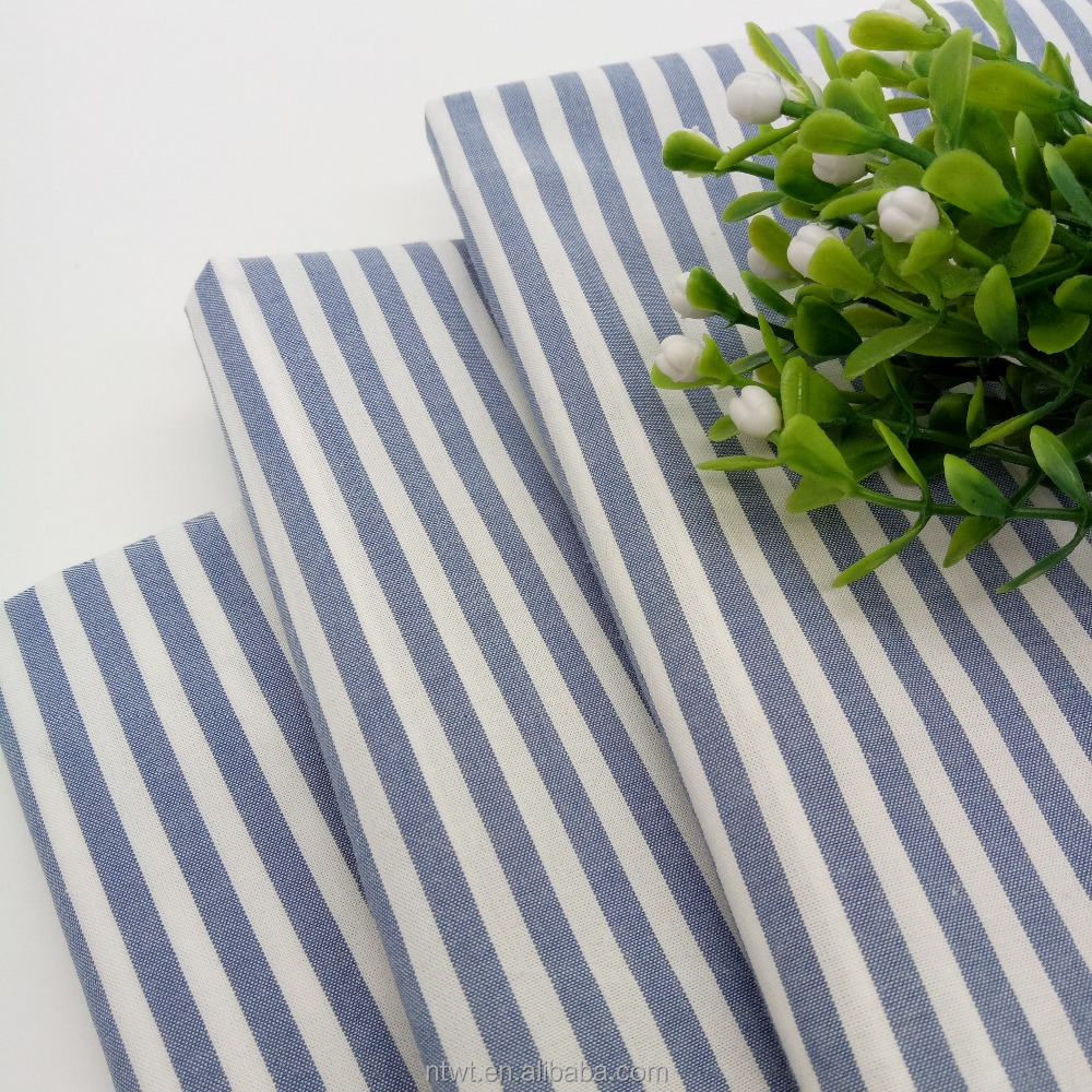 Wholesale 40s 100% Cotton Yarn Dyed Poplin Blue Stripe Fabric