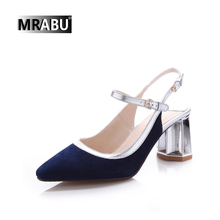 Blue manufacturer slingback buckle adjustable made in China suede leather pointed toe shoes women