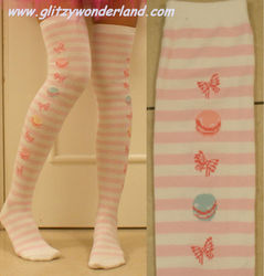 Pink & white striped lolita cotton stockings thigh-highs cosplay socks gothic uniform costume