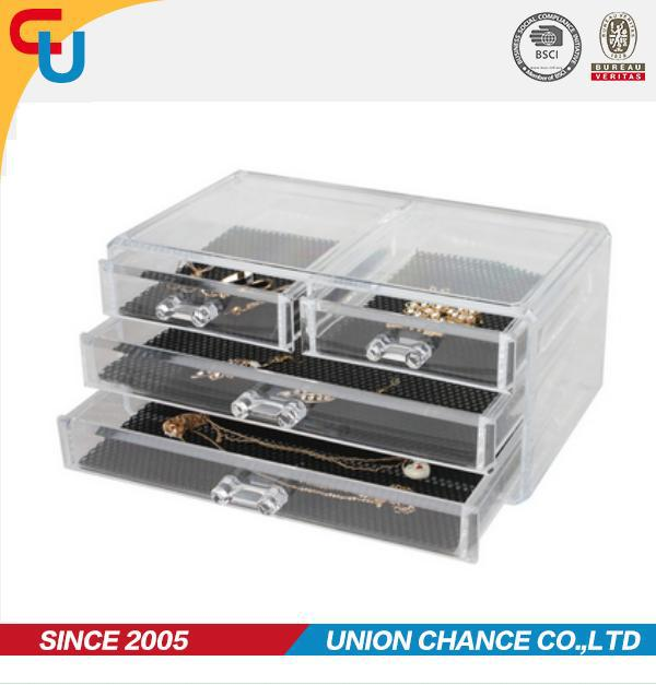 cheap wholesale PS plastic jewellery box storage with drawer