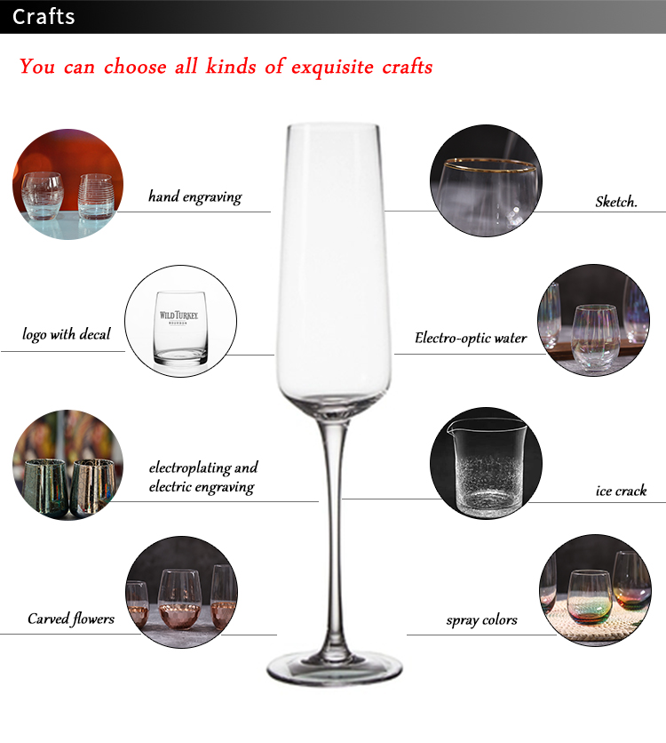 100%Lead Free Crystal Handmade Wholesale Champagne Flute Glass