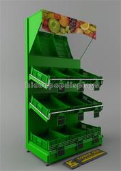 Free design custom metallic green supermarket fruit stand rack