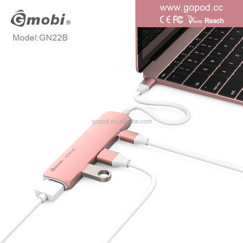 USB Type C Hub Notebook Adapter With 2 Card Reader 3 USB 3.0 Ports LED Indicator Space For MacBook Pro 2016 5 in 1