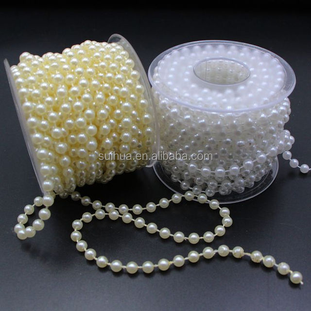 6mm Crystal Faux Pearls Strand Pearl Beads String By the Roll for Party Garland Wedding Bridal DIY Decoration