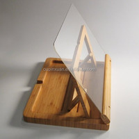 Cook book Holder Bamboo Large with Acrylic Shield cook book stand