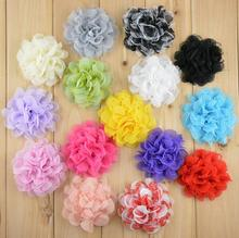 16 colors 4'' Shabby Lace Mesh Chiffon Flower For Kids Girls Hair Accessories Artificial Fabric Flowers For Headbands