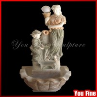 Beautiful Lady And Boy Marble Fountain Sculpture