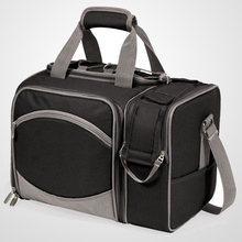 New arrival Insulated Cooler Picnic bag for 2, Black with Silver Grey, 15 x 9 x 11