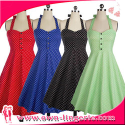 Apparel clothes wholesale dress HALTER POLKA DOT 50 PINUP ROCKABILLY VINTAGE SWING PROM PARTY DRESS