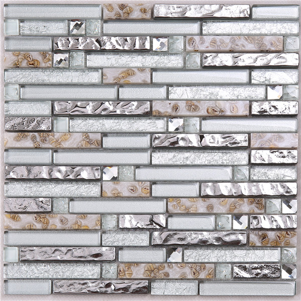 Home interior decorator bathroom electroplating silver ceramic wavy glass tile for wall & floor