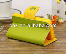 Candy Green and Yellow Wallet Flip PU Leather Stand Cover Protect Mobile Phone for iPhone 5C