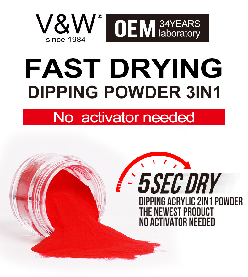 VW Fast Drying French Dipping Powder Nail Art Best Quality White/pink/nude Nail Powder Dip Acrylic French Kit Dip And Liquid