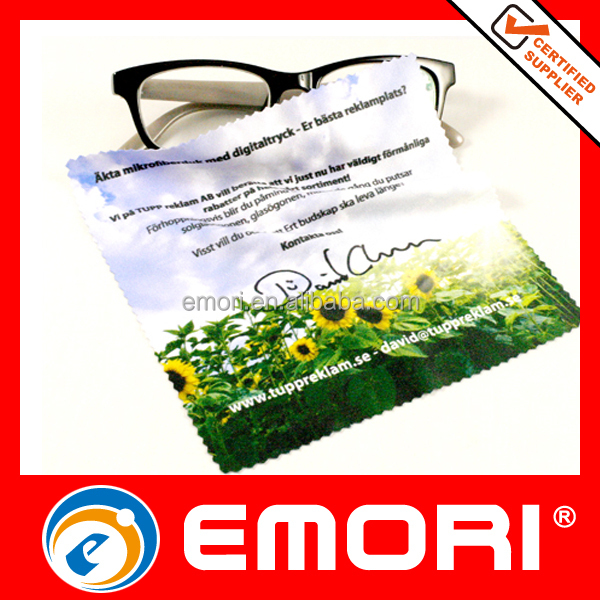 Inexpensive promotional digital-print polyester Eyewear cleaning wipes