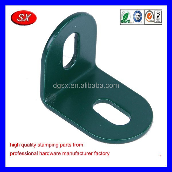 Customized furniture house hardware part metal stamping connecting part green coat steel small L bracket
