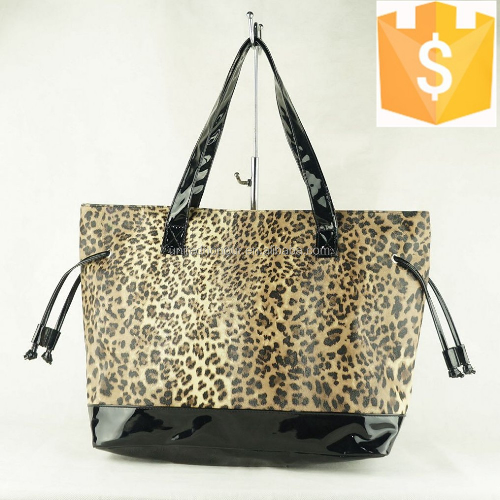 2014 the most popular ladies nylon leopard print handbag cheapest price Guanzghou factory