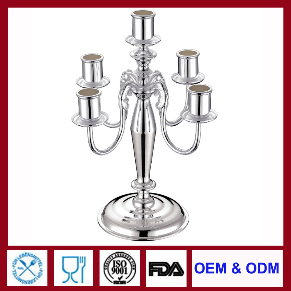 5 five Arm Silver Candelabra Silver plated Candle Holder Candlestick Holders for wedding holidays party celebration