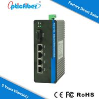 IP40 4 Gigabit Electrical Ethernet ports Single Fiber industrial unmanaged 5 port ethernet switch