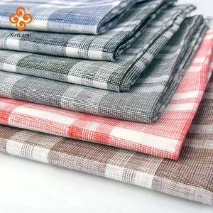 Woven washed 100% linen check fabric for shirt and dress