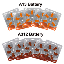 0% Mercury 675,13,312,10 sizes Zinc-air Button Cell Hearing Aid Battery 1 Pack x 6 Batteries per pack