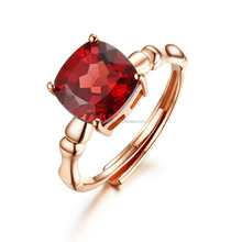 2015 new fashion jewelry bamboo Square garnet gemstone ring in silver plated gold