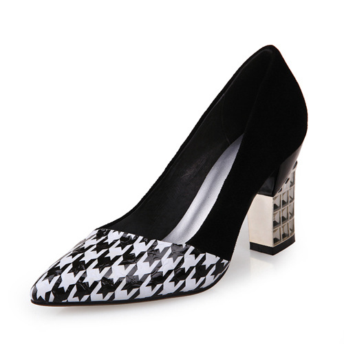PU Pointed Dress Shoes Women China Chunky <strong>Heels</strong>