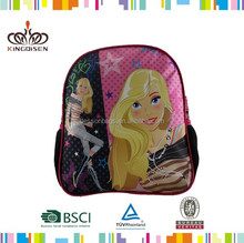 SATIN polyester material and backpack style child school bag 2015