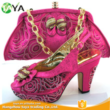 Fashion evening women matching italian shoes and bag set