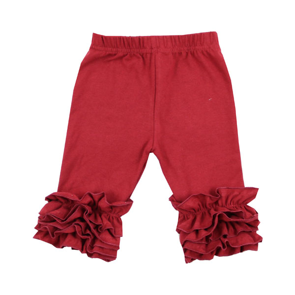 Lanye cotton fabric for high quality solid ruffle best service new pants design for girl