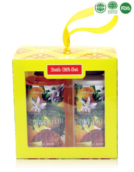 pineapple promotional bath gift set with whitening body lotion for christmas gift