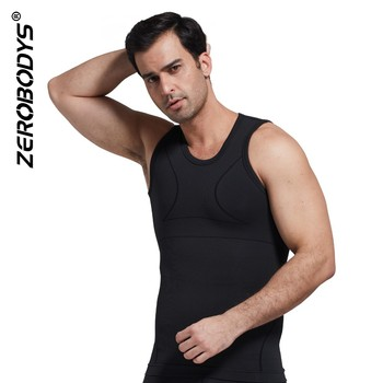 T352 BK Bamboo Charcoal Bicolor Compression Mens Slim Vest