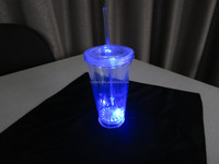 16OZ Flashing LED plastic cup novelty light up double wall tumbler with straw
