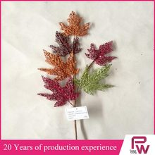 High quality artificial fake glitter red maple leave/fake glitter leaves/decorative autumn maple leaves