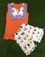 Hot Selling Baby Outfit Cotton Toddler Fashion Summer Clothing New Arrive Sleeveless Top and Icing Short