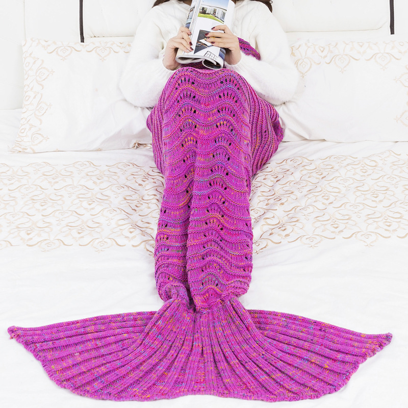 CW1019-1 Handmade Crochet Mermaid Blanket Kids Throw Bed Wrap Super Soft Sleeping Bed 195*90cm