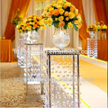 tall lighted square acrylic flower pedestal for wedding decorations