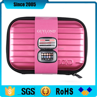 pink light pu cover eva hard makeup case
