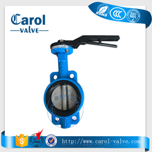 lever operated wafers end type manual full ptfe/viton/epdm lined seat butterfly valve