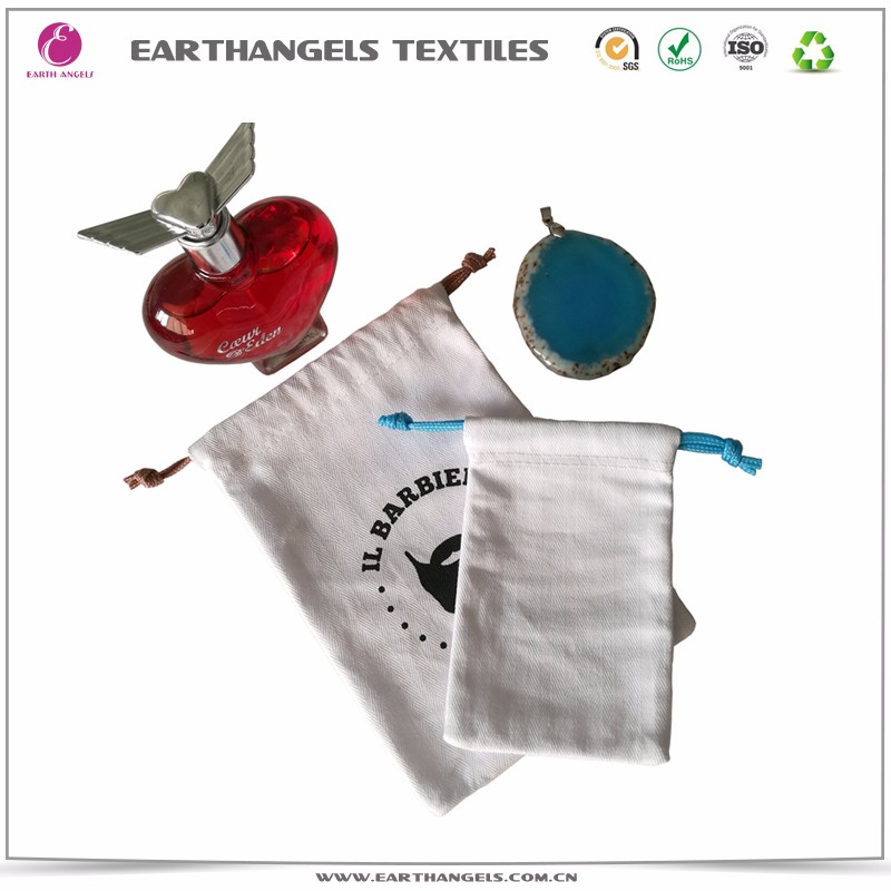 100% Cotton Fabric custom jewelry small pouch bag with logo