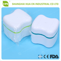 CE Approved Dental Denture Plastic Storage Box With Soak Net / Dental Retainer Case