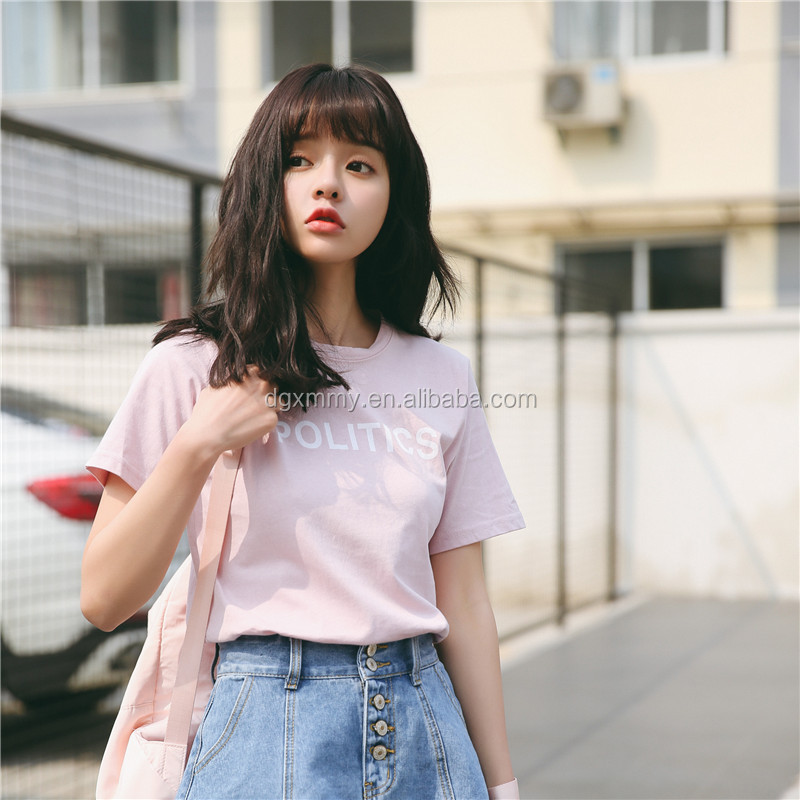 Summer 2017 harajuku t-shirt women Korean style ulzzang fashion retro character POLITICS printing women cotton t shirt