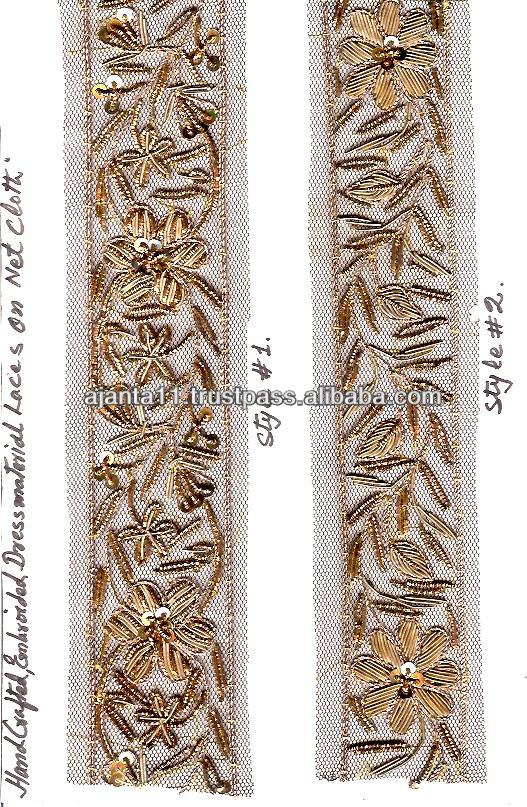 Hand made embroidered bullion zari borders on net fabric 027