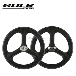 700c 70mm Clincher Track Bike Carbon Tri Spokes Wheels 3 Spokes Bicycle Fixed Gear Wheels
