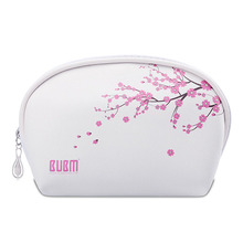 Customized BUBM new product pvc cherry blossoms cosmetic bag with mini mirror
