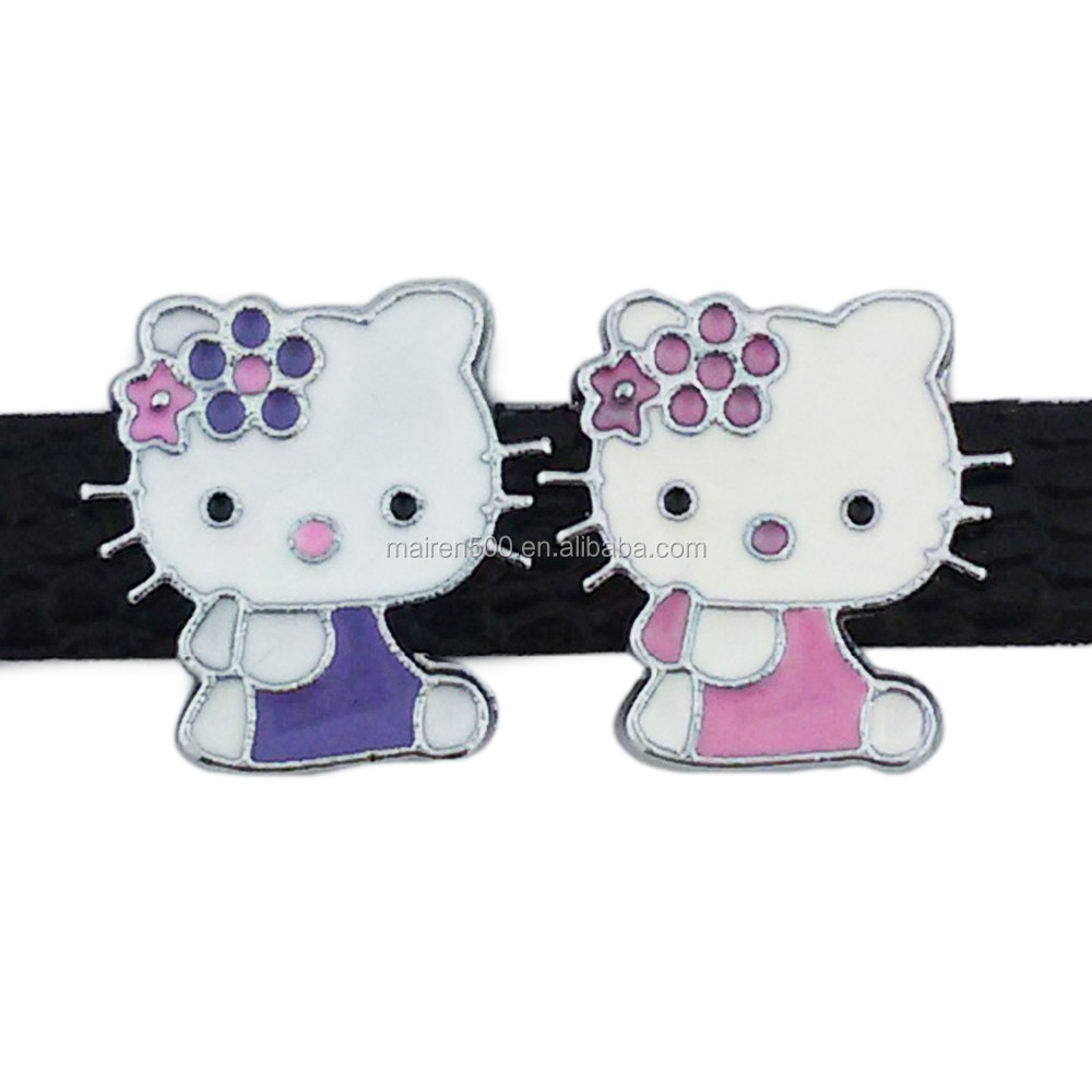 European charm mixed color 8mm enamel kitty slide charms wholesale for charm bracelet (JY-001)